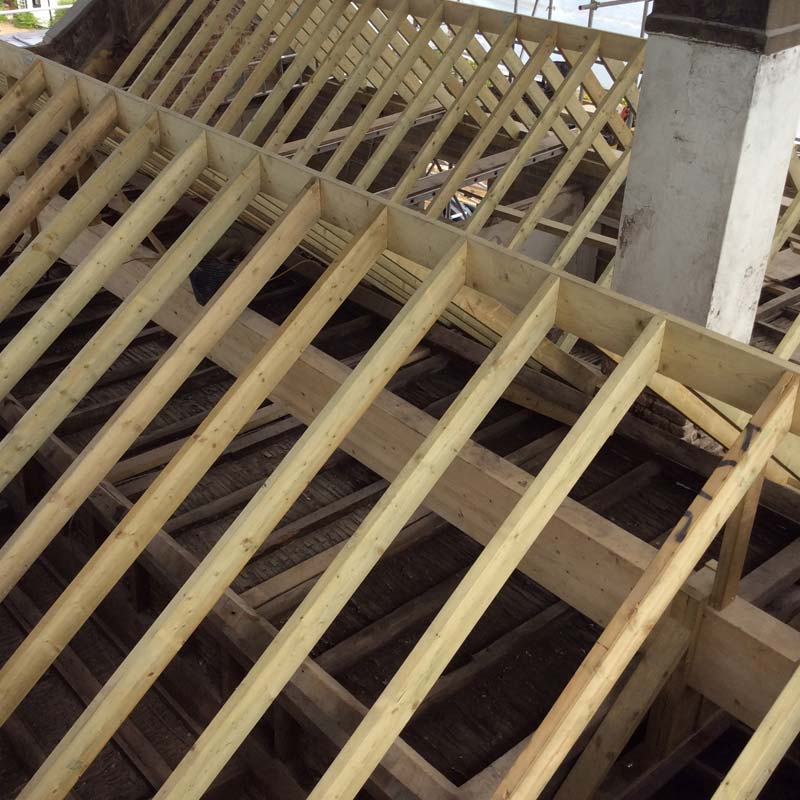 Timbers and ridge beam installed to double pitched roof